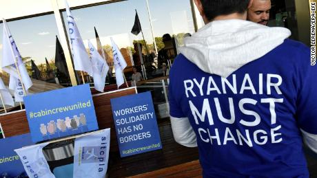 Ryanair cabin crew members protest in Madrid.